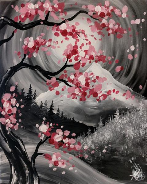 How to Paint Cherry Blossom Mountains