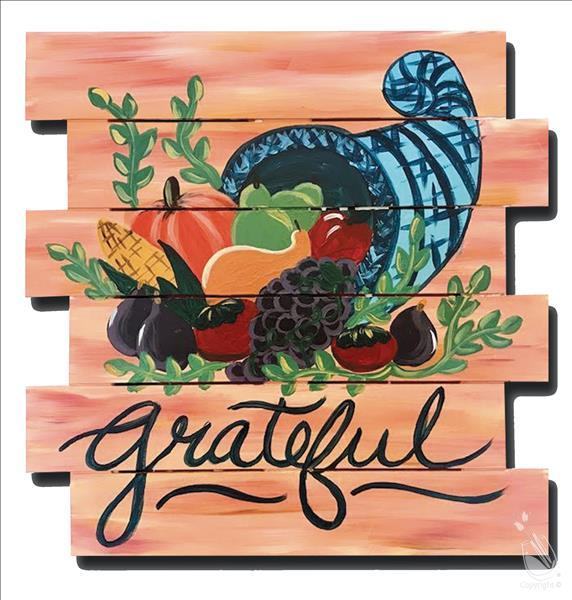 Thankful Thursday-Wood Pallet-Grateful Cornucopia