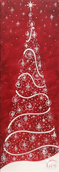 How to Paint TALL CANVAS - Crimson Twinkle Tree  - ADD BLING!