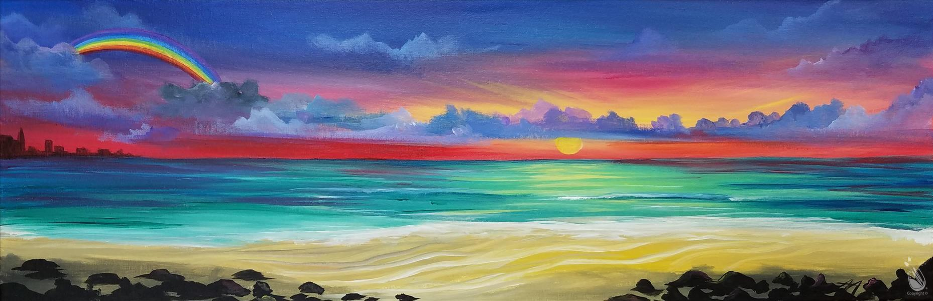 How to Paint Encore! Rainbow Sunset & Wine Included