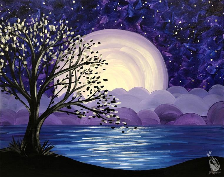 How to Paint Leap Day Lake Moonrise