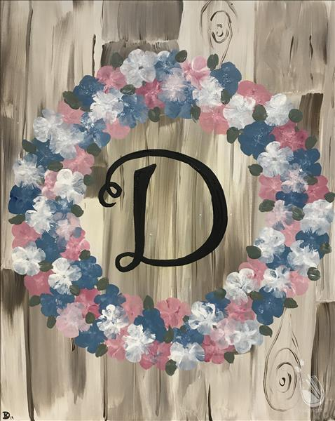 Rustic Floral Wreath Monogram