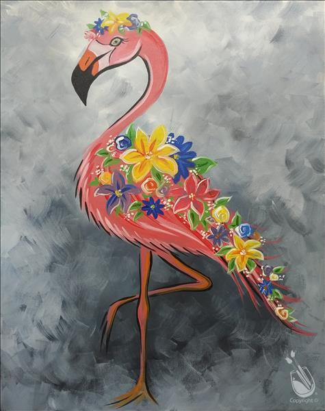 NEW Art: Floral Flamingo