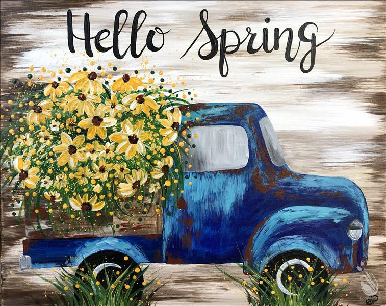 Rustic Sunflower Truck | Canvas or Plank Board