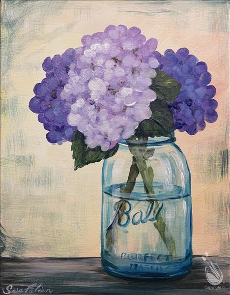 Purple Flowers in a Mason Jar (Ages 13+)