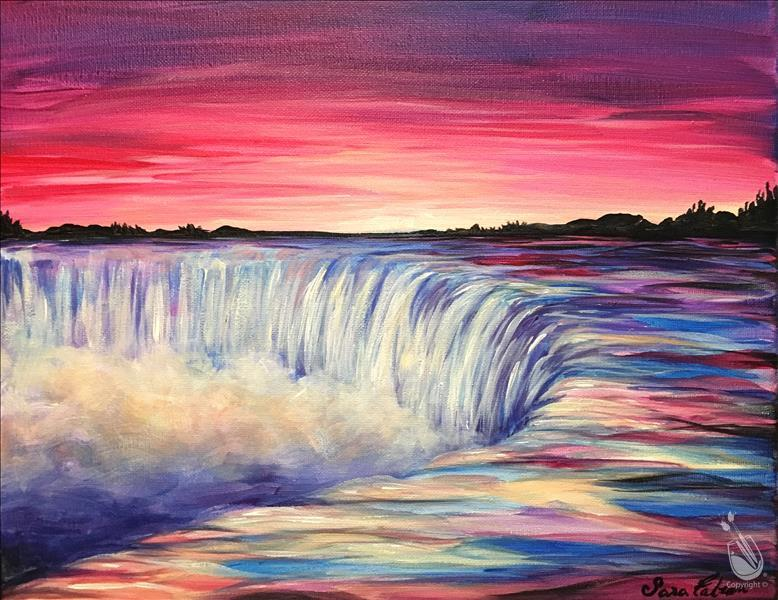 How to Paint Virtual LIVE -Couples/BFF-Sunset over Waterfall