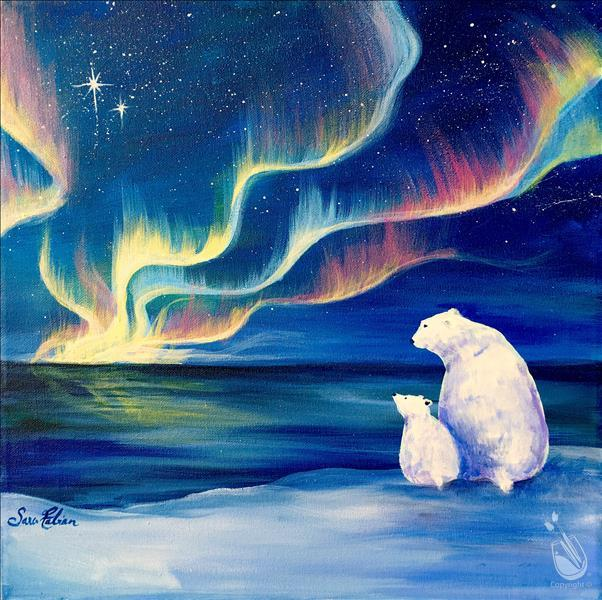 Polar Bear and Northern Lights