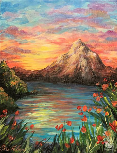 How to Paint Sunset Behind the Mountain