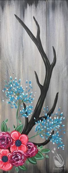VIRTUAL CLASS~Antlers and Flowers Real Wood Board