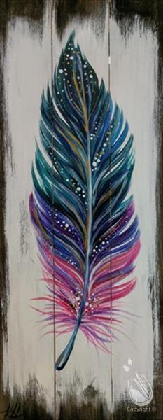Boho Feather Real Wood Board or Canvas