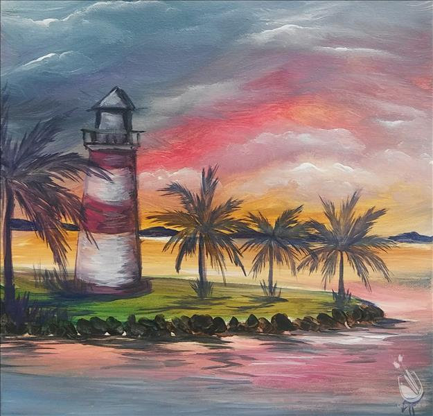 How to Paint Gulf Lighthouse on 12 x 12 Canvas