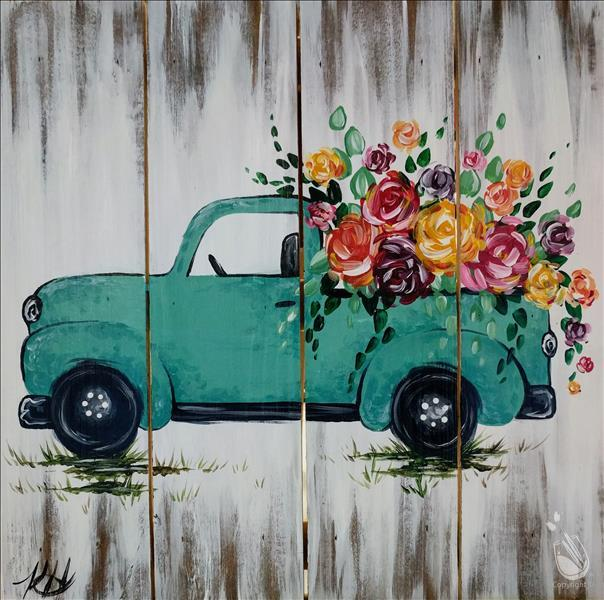 Rustic Flower Truck Real Wood Board