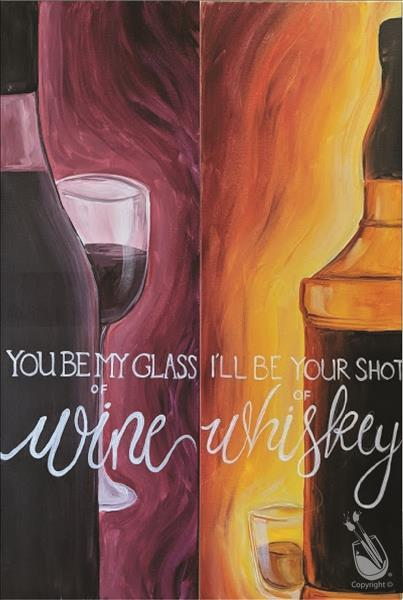 How to Paint WACKY WINE & WHISKEY (pick-a-side)