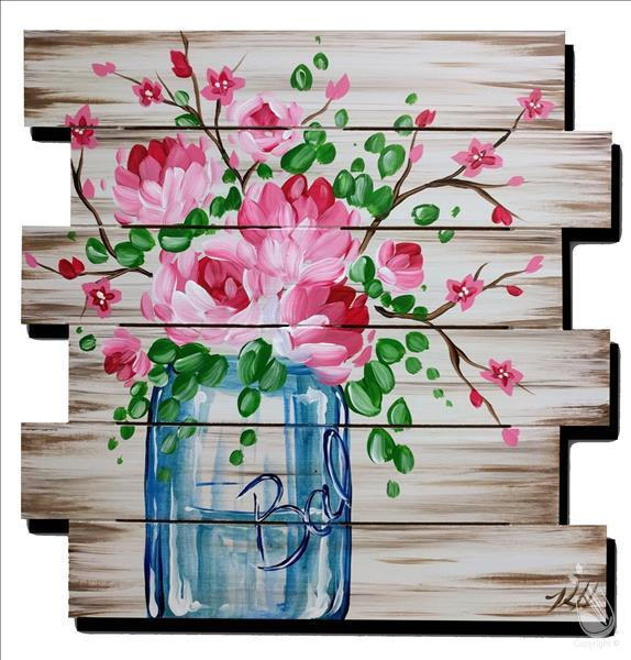 How to Paint A Pink Bouquet Pallet
