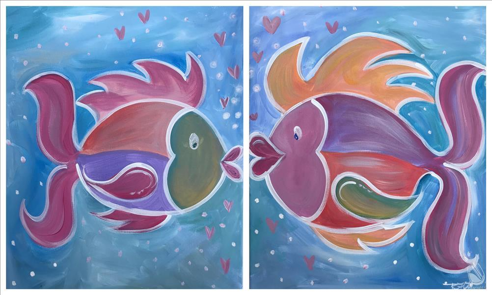 "How to Paint Daddy and Me ""Fish Kisses - Set"""