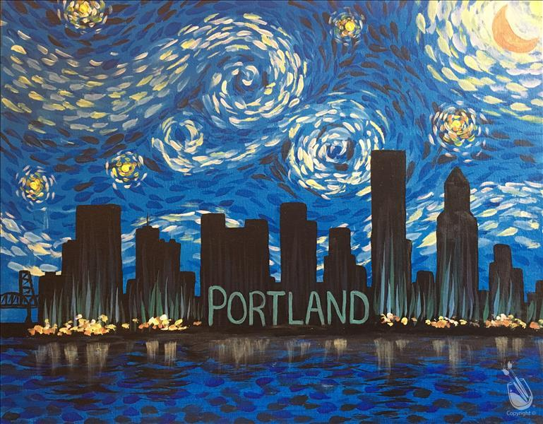 Paint At Your Place: Starry Night Over PDX