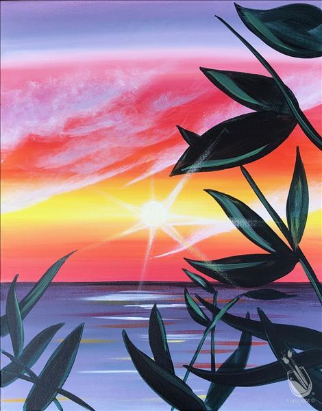 How to Paint vibrant tropical sunset