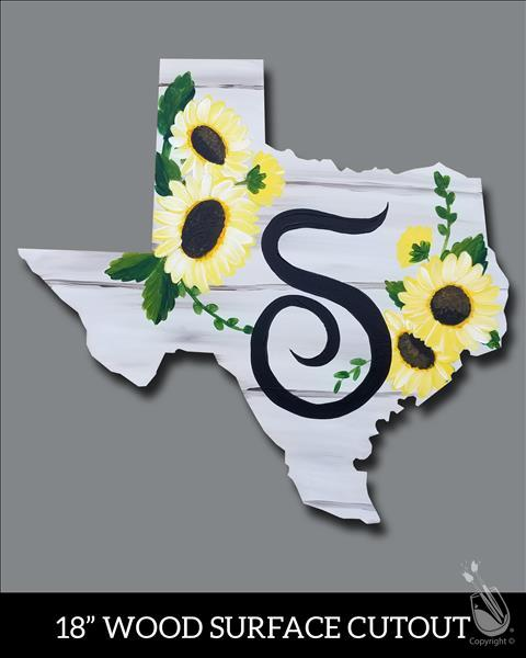 Texas Sunflowers Monogram Cutout (Ages 10+)