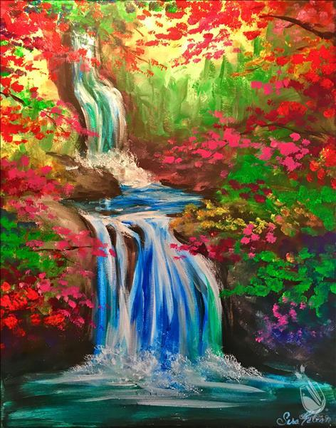 Sipping Wine and Painting Waterfalls