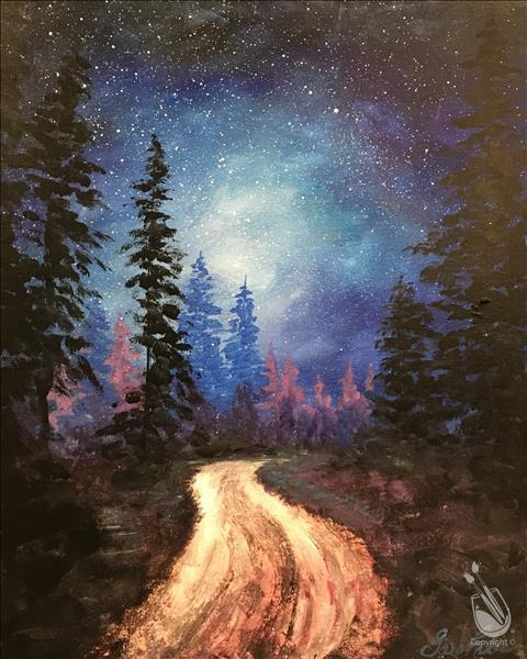 How to Paint In Studio |Forest Night Skies & Free Drink Friday!