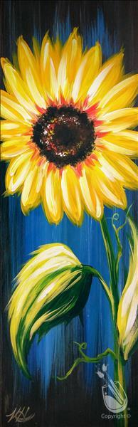 How to Paint NEW ART ~10x30 Canvas ~ Rustic Sunflower on Blue