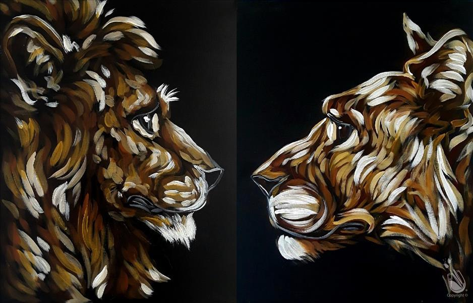 How to Paint **DATE NIGHT** Lion and Lioness in the Night