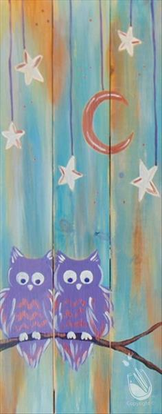 Love Owls at Night Real Wood Board