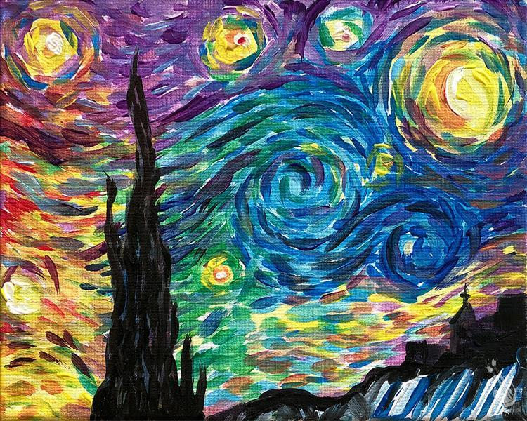 How to Paint Rainbow Starry Night