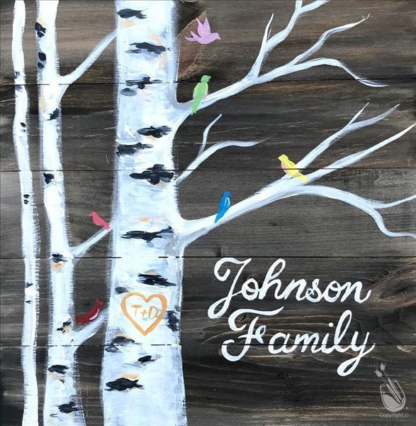 How to Paint Family Birch Tree Real Wood Board or Canvas