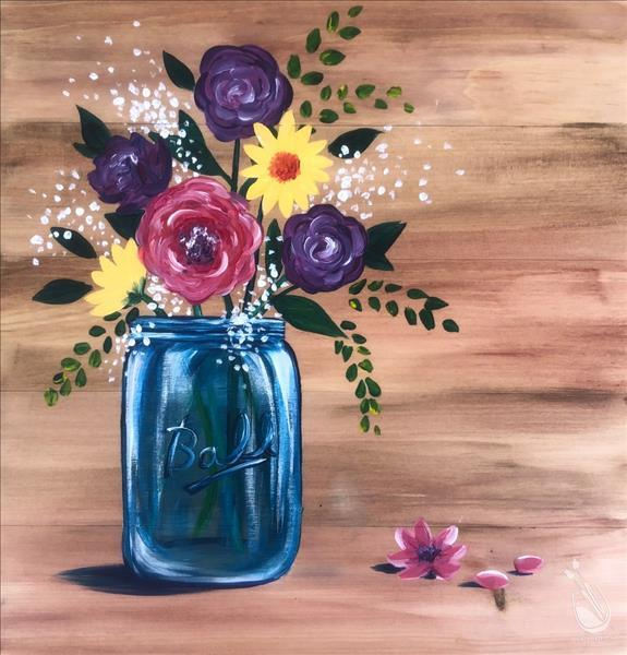 Blue Mason Jar Bouquet Real Wood Board