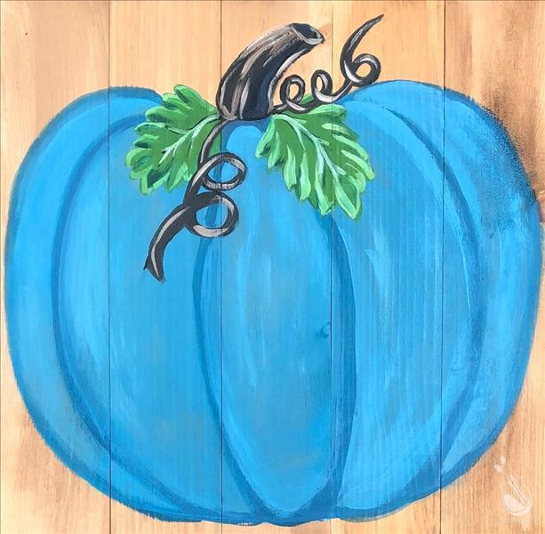 Bright Teal Pumpkin Real Wood Board-In Studio!