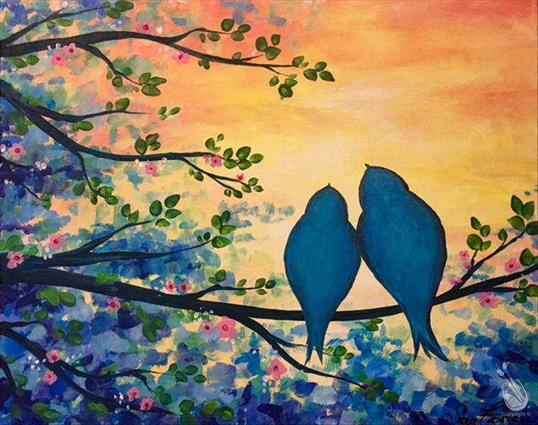 How to Paint Two Bluebirds in a Flowering Tree