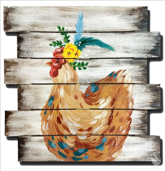 How to Paint NEW ART-Boho Chicken on a Shiplap Pallet or 16X20