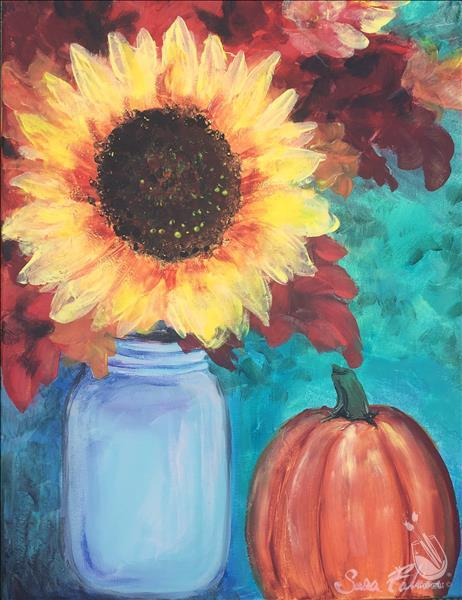 Sunflower, Mason Jar, and Pumpkin