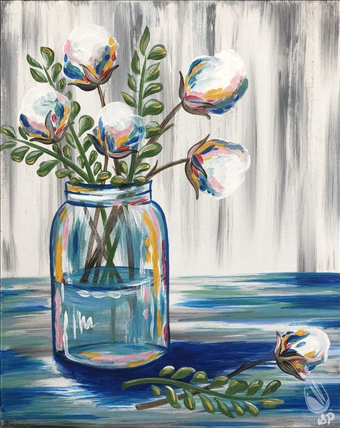 Cotton and Eucalyptus Jar on wood or canvas