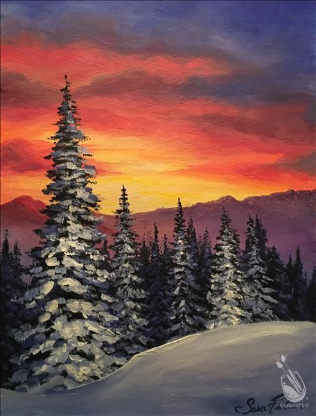 Sunset over Snowy Pines