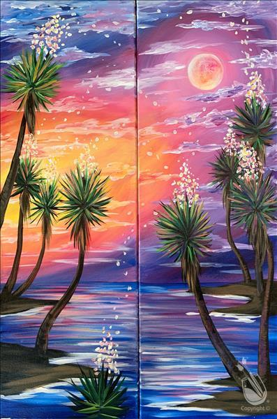 How to Paint TALL ART Early Moonrise - Paint the Set-Adults 18+