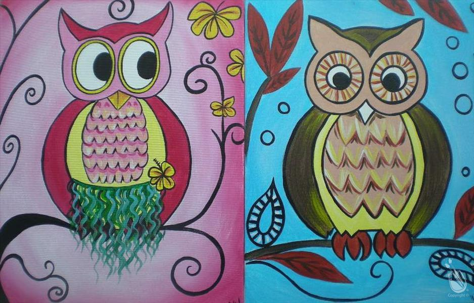 How to Paint Cute Owls Set- Family/Adults/Kids