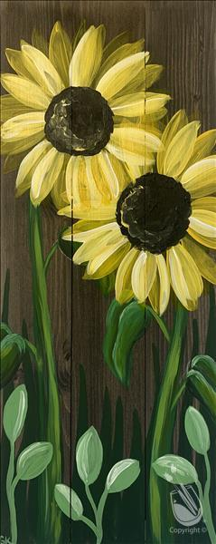 Early Morning Sunflowers 10x30 canvas