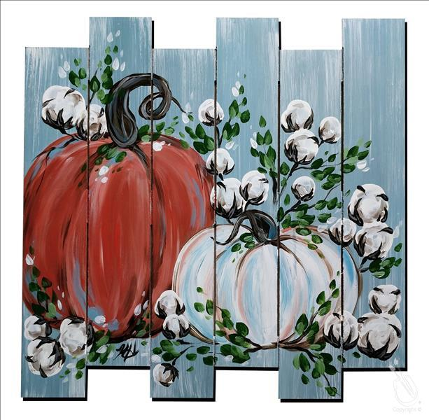 Pumpkins and Cotton on Blue Pallet.