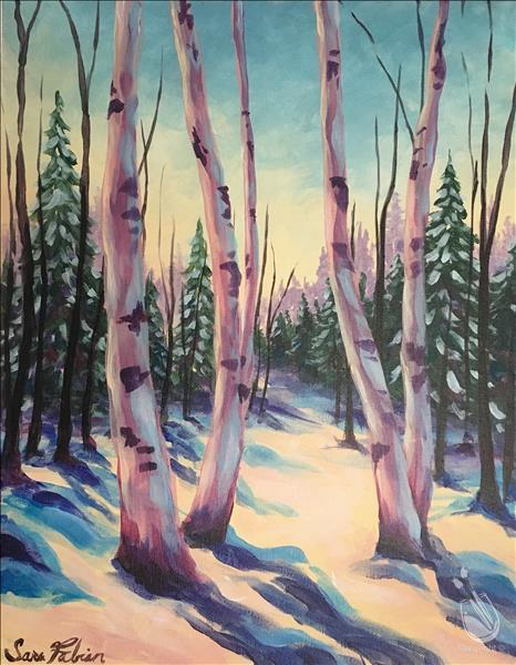 How to Paint Birch trees in Winter Painting Party