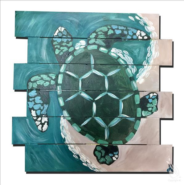 Coastal Series - Mosaic Turtle Pallet - In studio