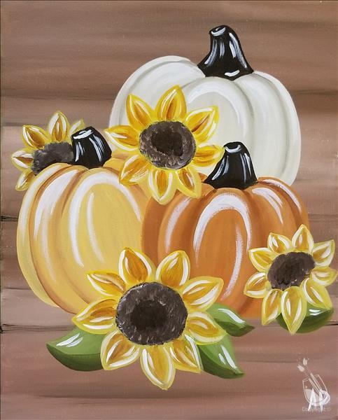 Rustic Pumpkins With Sunflowers *LIMITED SEATING*