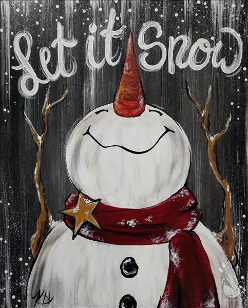 Let It Snow Rustic Snowman(wood or canvas)