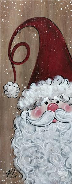 How to Paint Rustic Snowy Santa (shown on wood)