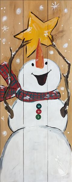 Cheerful Snowman Real Wood Board or Canvas