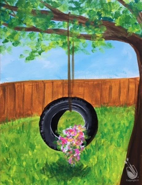 Floral Tire Swing