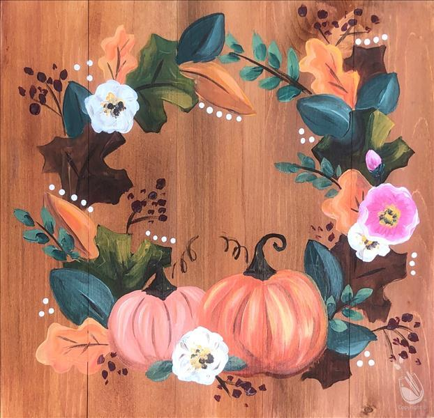 Traditional Fall Wreath Real Wood Board