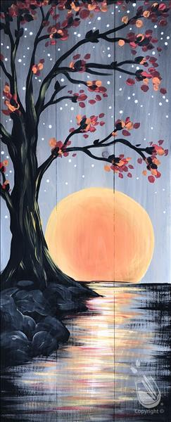 Oak Tree Harvest Moon wood or canvas