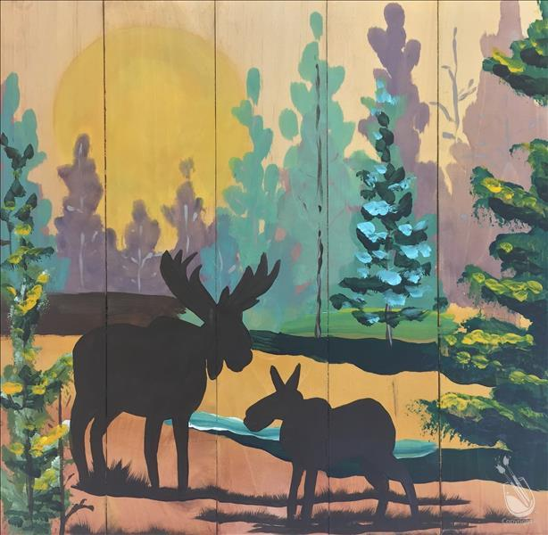 How to Paint PUBLIC PARTY Moose Forest Wooden Cutout CANCELED